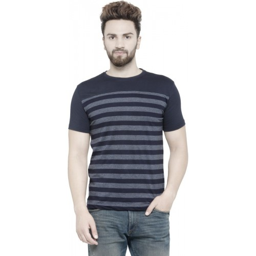 Teesort Striped Men Round Neck Blue T-Shirt