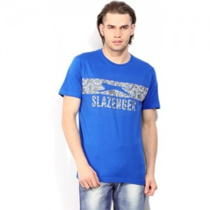Slazenger Printed Men's Round Neck Blue T-Shirt