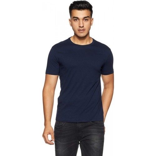 Absolute Defense Solid Men Round Neck Blue T-Shirt