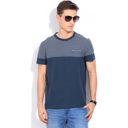 b2bd410366 Buy Nautica Striped Men's Round Neck White, Blue T-Shirt online |  Looksgud.in