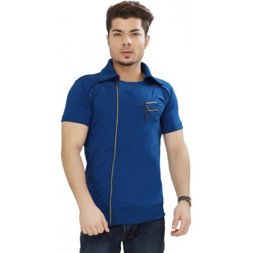 Tees Collection Solid Men Polo Neck Blue T-Shirt