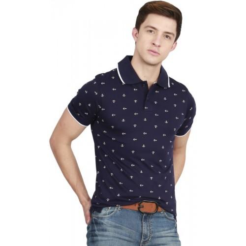 Fanideaz Printed Men's Polo Neck Blue T-Shirt