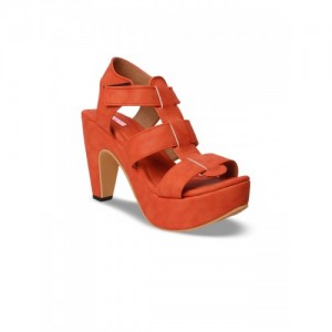 meriggiare Women Orange Solid Synthetic Sandal