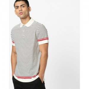 INDIAN TERRAIN Striped Polo T-shirt with Ribbed Collar