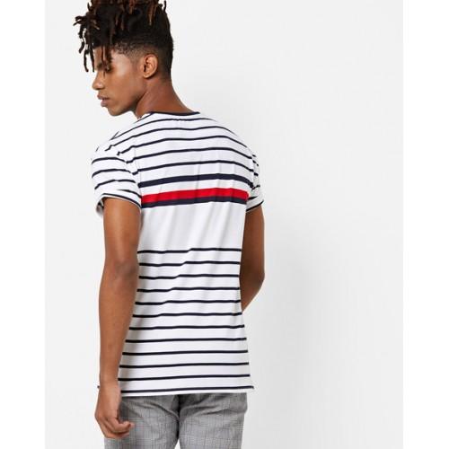 4e80befc Buy AJIO Single Jersey Striped Crew-Neck T-shirt online | Looksgud.in