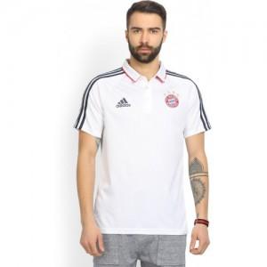 ADIDAS Bayern Munich Solid Men's Polo Neck White T-Shirt