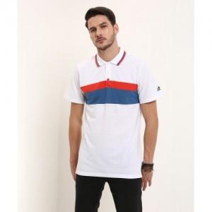 ADIDAS Striped Men's Polo Neck White T-Shirt