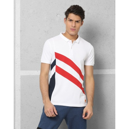2550612fc3c302 Buy Metronaut Athleisure Solid Men s Polo Neck White T-Shirt online ...