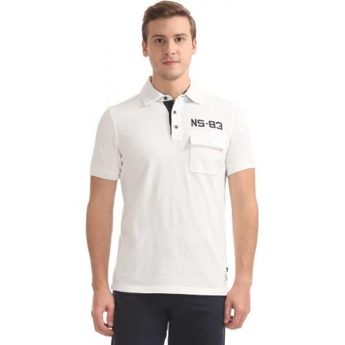 Nautica Solid Men Polo Neck White T-Shirt