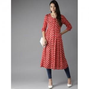 Moda Rapido Women Red & White Printed A-Line Kurta