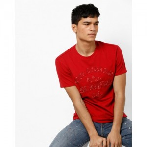 LEVIS Red Cotton Printed Slim Fit Casual T-shirts