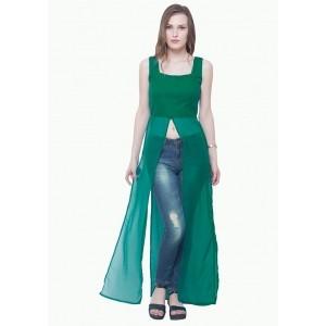 Faballey Green Longline Maxi Blouse