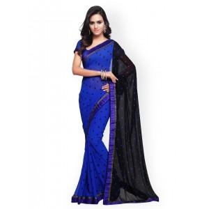 Mirchi Fashion Blue Georgette Printed Saree
