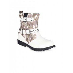 CUTECUMBER Girls White & Olive Green Printed Boots