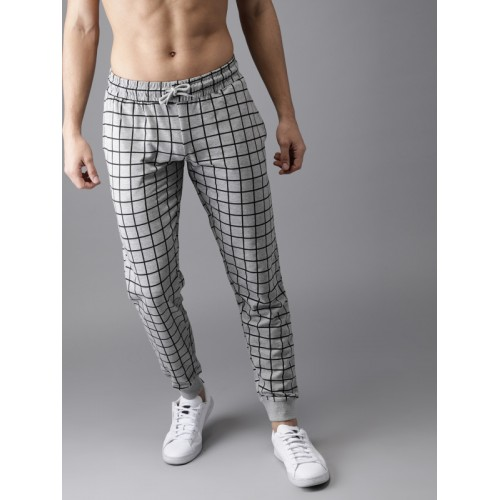 HERE&NOW Men Grey & Black Checked Joggers