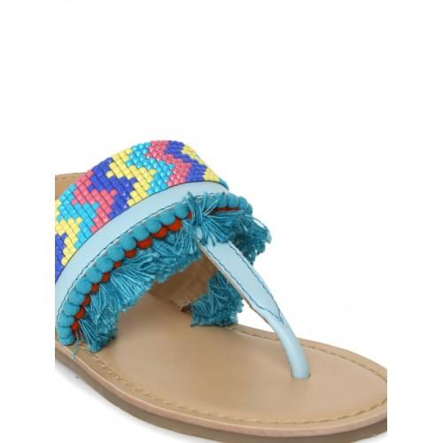 Aria Nica Girls Blue Woven Design Open Toe Flats