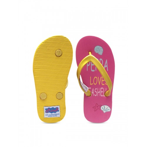 DChica Girls Pink & Yellow Printed Thong Flip-Flops