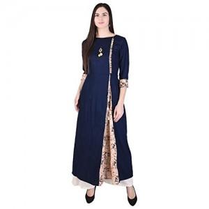 Indiwest Women's Blue Anarkali Kurta