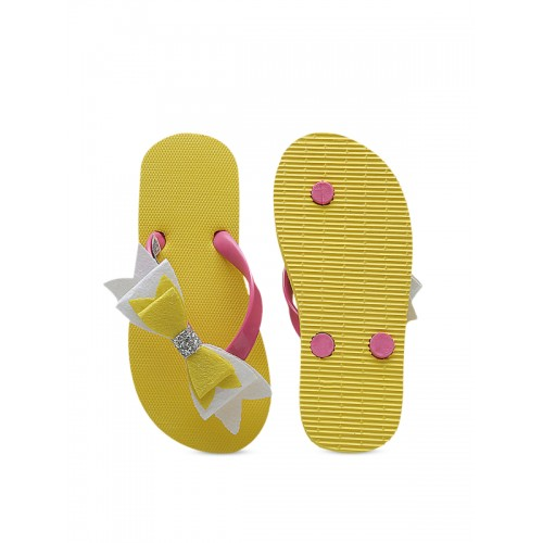 DChica Girls Yellow & Pink Solid Thong Flip-Flops