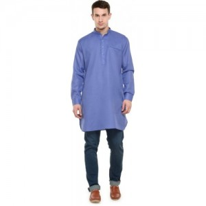 RG Designers Men Blue Straight Kurta