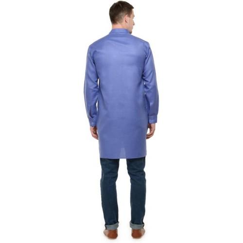 RG Designers Men Blue Straight Kurta