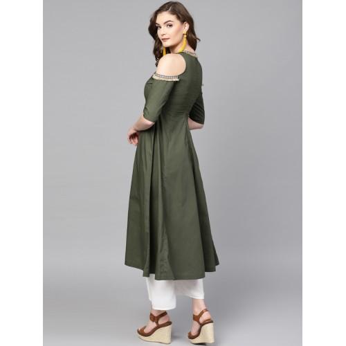 SASSAFRAS Women Olive Green Solid A-Line Kurta