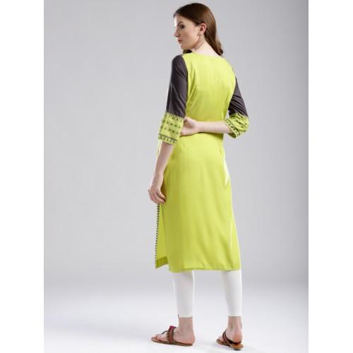 W Women Green & Charcoal Grey Yoke Design Straight Kurta