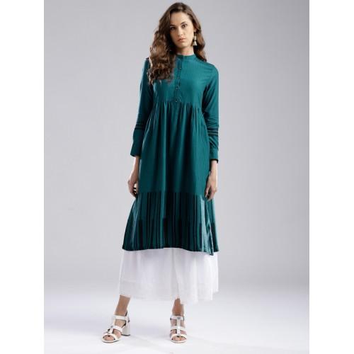 W Women Teal Green Striped A-Line Kurta