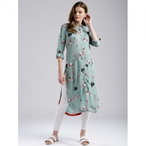 W Women Sea Green Printed Straight Kurta