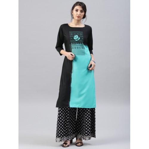 Vaamsi Women Black & Sea Green Printed A-Line Kurta