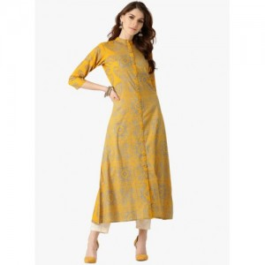Libas Yellow Cotton Printed Kurta