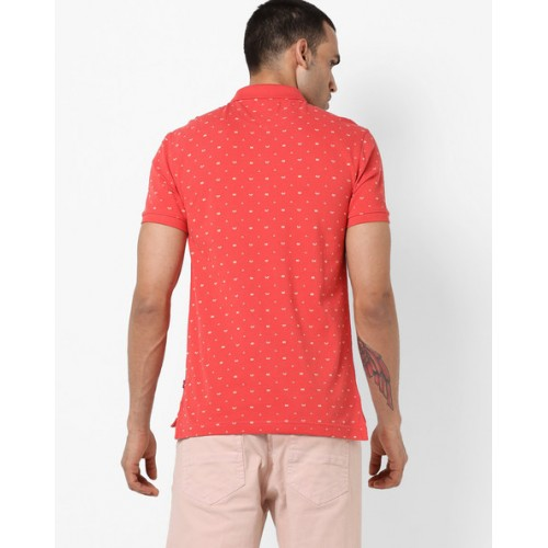 Levis Men Red Printed Polo Collar T-shirt