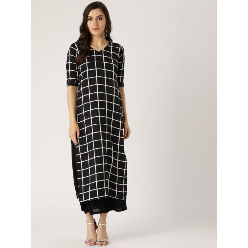 Libas Women Checkered Straight Kurta(Black)