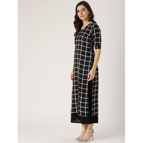Details about  /women/'s beautiful black checkd straight kurta for women and girl