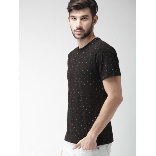 c44f7f98b28 Buy FOREVER 21 Men Black   White Polka Dot Print Round Neck T-shirt ...
