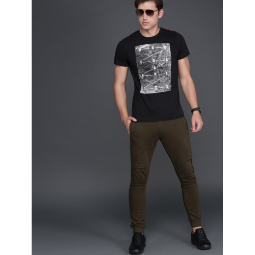 WROGN Men Black Printed Round Neck T-shirt