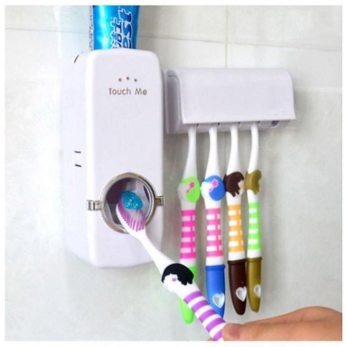 Saksham Plastic Automatic Toothpaste Dispenser & Toothbrush Holder Set