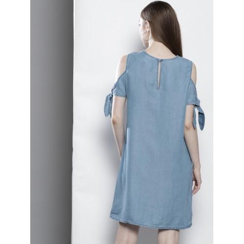 DOROTHY PERKINS Women Blue Cold-Shoulder A-Line Dress
