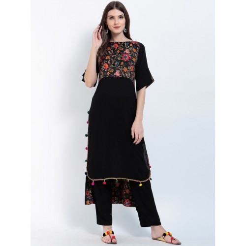 Ives Women Black Yoke Design Straight Kurta