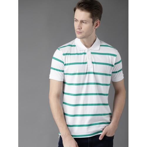 ae1feff5358 ... Moda Rapido White & Teal Green Striped Polo Collar T-shirt ...