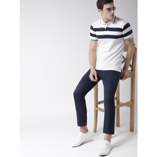 Mast & Harbour White Striped Polo Collar T-shirt