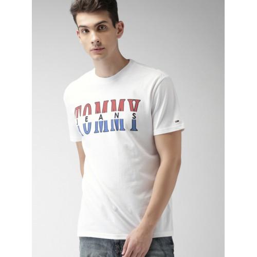 Tommy Hilfiger White Printed Regular Fit Round Neck T-Shirt