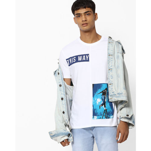 Levis White Cotton Printed Round Half Sleeves Neck T-shirt