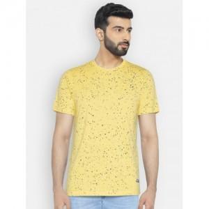 Monte Carlo Men Yellow Printed Round Neck T-shirt
