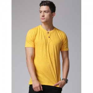 YWC by Yuvraj Singh Men Yellow Solid Henley T-shirt