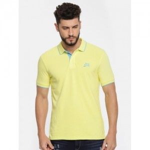 Being Human Clothing Men Yellow Solid Polo Collar T-shirt