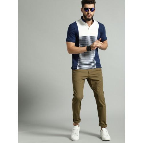 Roadster Men Khaki Regular Fit Solid Chinos