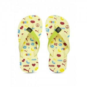 3f7c3ef72 Puma Kids Yellow   Lime Green Synthetic Printed Thong Flip-Flops