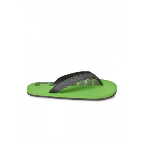 Puma Unisex Grey & Green Synthetic Printed Thong Flip-Flops