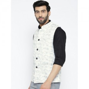 Shaftesbury London White & Navy Cotton Checked Nehru Jacket